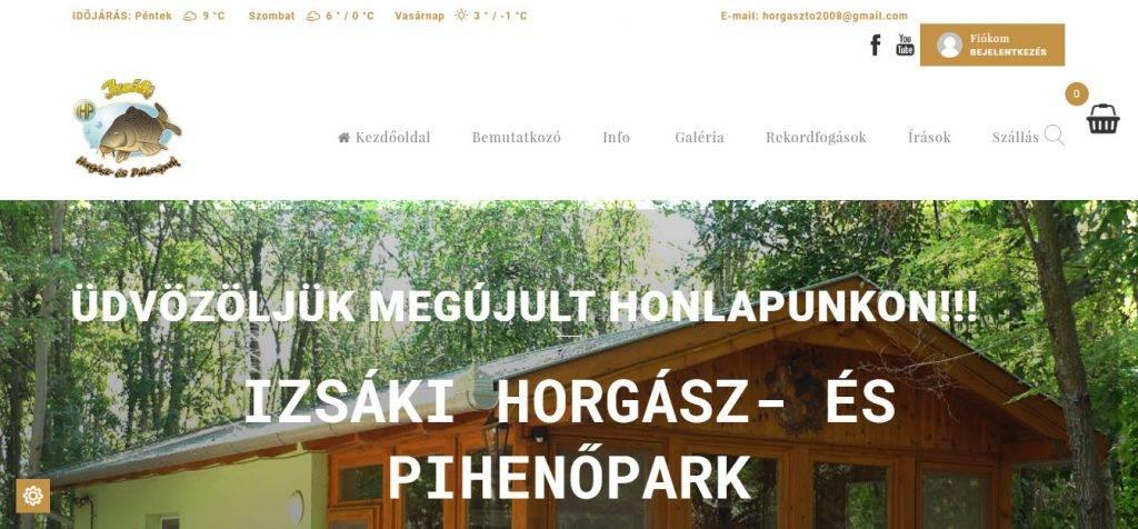 izsakihorgaszto.hu weboldal, webshop, szállásfoglalás