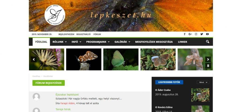 lepkeszet.hu weboldal, fórum, képfeltöltés